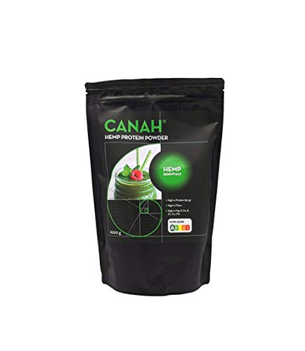 Natural Hemp Protein Powder by Canah 1 kg – High in Protein Omega 3 Amino Acids Minerals Magnesium Phosphorus Iron and Zinc - Vegan Protein Superfood Cold Processed