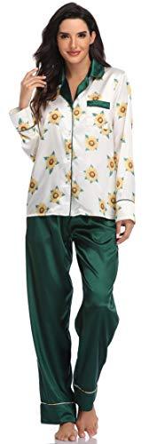 SHEKINI Damen Seidener Zweiteiliger Schlafanzug Blumen Pyjama Set mit Knopfleiste Satin Nachtwäsche V Ausschnitt Langarm Sleepwear (L, Grün)