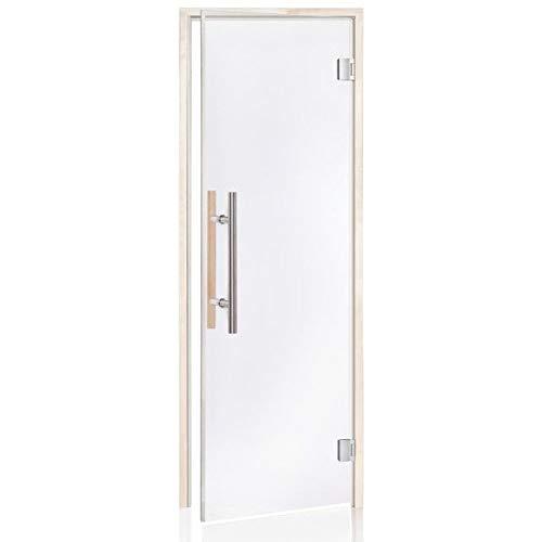 De Luxe Saunatür 80 ? 200 | Glasfarbe: Transparent | Rahmen: Espe