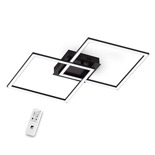 EGLO LED Deckenleuchte Palmaves 1, 2 flammige Deckenlampe aus Aluminium, Stahl, Kunststoff, Schwarz, Weiß mit Fernbedienung, Lichtfarbe warmweiß – kaltweiß, Nachtlicht, dimmbar, 75553, schwarz/weiß