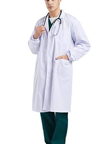 FCHITOP Camice Bianco da Laboratorio Medico Lavoro da Unisex Uomo Donna qualità Superiore Cotone,Adatto per Studente Laboratorio Infermiera Cosplay Abito di Cotone (XXL)