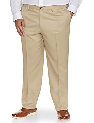 Amazon Essentials Men's Big & Tall Classic-Fit Wrinkle-Resistant Flat-Front Dress Pant, Khaki, 52W x 30L