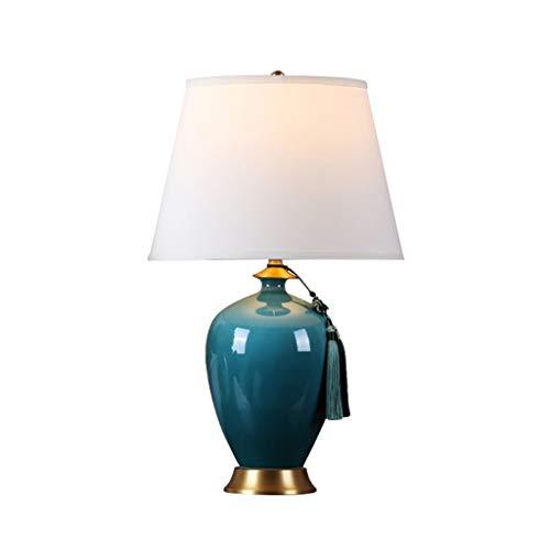 Iluminación Lámpara de mesa de cerámica artesanal de escritorio azul Oval Oficina dormitorio de la lámpara Tela Shadefor Sala Familiar Mesilla Lamparas (tamaño : Large)