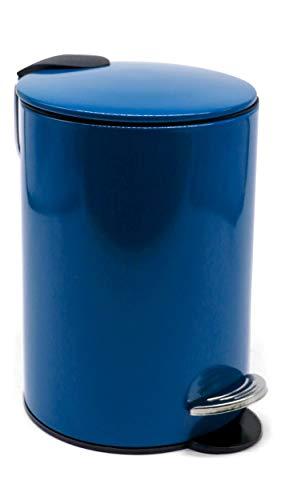 ZenMorning Papelera de baño con pedal con diseño elegante, tapa de cierre suave y asa de transporte – Cubo interior extraíble pequeño – Acabado antihuellas en azul oscuro, 3 L, 17 cm x 24 cm