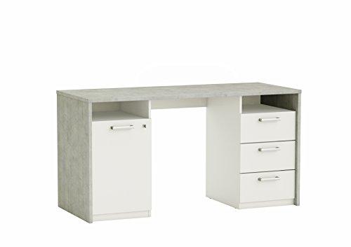 Abitti Mesa Escritorio de diseño para Estudio, Oficina o despacho en Color Blanco e imitación Papel para un Acabado Moderno 145x60x76 cm
