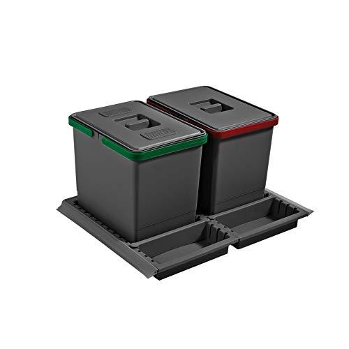 ELLETIPI Metropolis ptc28060503F C10PPV Papelera Reciclaje de cajón, Gris, 51x 46x 28cm