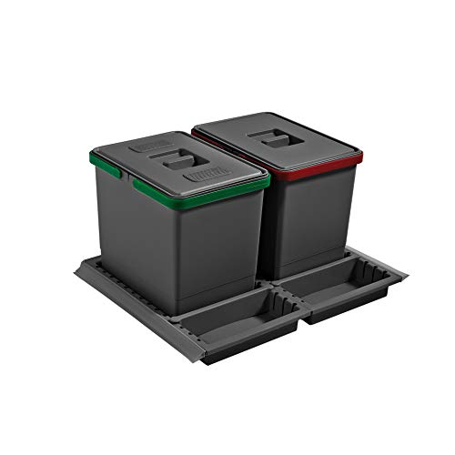 ELLETIPI Metropolis ptc28 06050 3 F C10 PPV Recycling bin with drawer, Gray, 51 x 46 x 28 cm