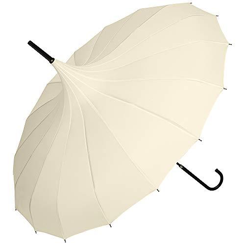 VON LILIENFELD Regenschirm Sonnenschirm Leicht Stabil Braut Hochzeit Pagode Fabienne, creme/ivory