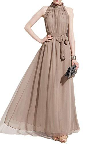 VSVO Women Halter Neck Sleeveless Chiffon Maxi Dresses (Large, Beige)