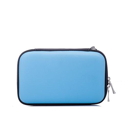 GUANHE Custodia per Chiavette USB Borsa Organizzatore per Cavi/ Schede SD/Hard-disk/Caricabatteria/Auricolari Borsa Organizer da Viaggio Porta Accessori Elettronici, Blu