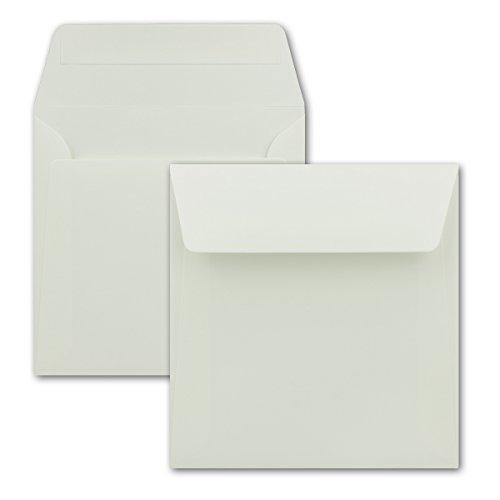 Briefumschläge in Creme - 50Stück - quadratische Kuverts 16 x 16 cm - Starke Qualität - 120 Gramm/m² - Haftklebung - ohne Fenster