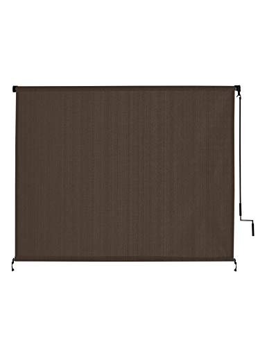 VICLLAX Outdoor Roller Shade, Patio Cordless Blinds Roll Up Shade (8' W X 6' L), Mocha