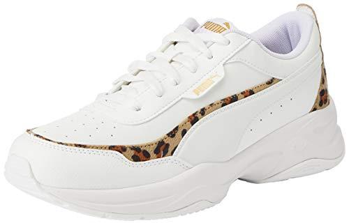 PUMA Cilia Mode Leo, Sneaker Donna, Bianco White White Team Gold Black, 37.5 EU
