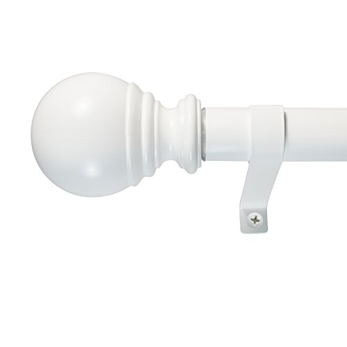 "Decopolitan 30409-WT72 1"" Ball Single Telescoping Drapery Rod Set, 72 to 144-Inch, White"