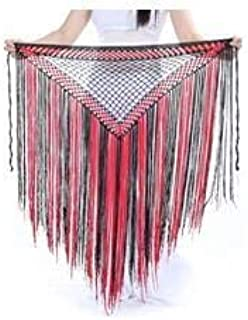 CHENTAOCS DJGRSTER 13Colors Belly Dance Clothes Accessories Stretchy Long Tassel Triangle Belt Hand Crochet Belly Dance Hip Scarf Easy to use (Color : Orange, Size : One Size)