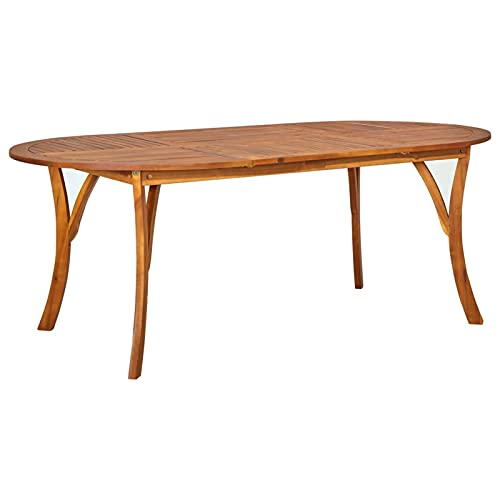 Tidyard Tavolo da Giardino Massello di Acacia Tavolo in Legno Tavolino da caffè 201x100x75 cm per Giardino Terrazzo Balcone Patio l'interno e l'esterno