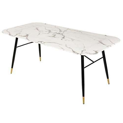 riess-ambiente.de Design Esstisch Paris 180cm Glastisch Marmor-Optik weiß Konferenztisch Küchentisch Tisch