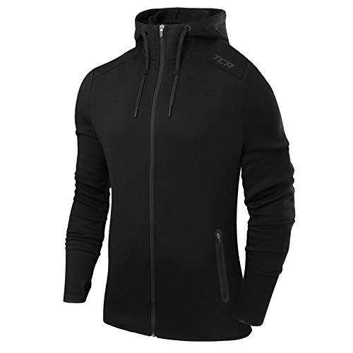 TCA Revolution Herren Thermo Trainingsjacke mit Kapuze und Reißverschlusstaschen - Schwarz, M