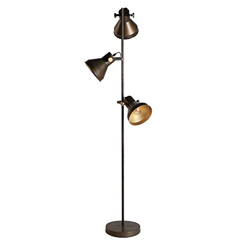 Lastdeco Lampara de Pie Salon. Lampara de Lectura para Dormitorio o Despacho. Pantallas Regulables. Estructura Metalica. Color Bronce. Compatible con Led. Diseño Exclusivo. 46 x 42 x 160 cm