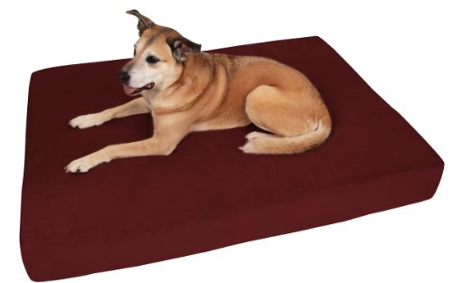 "Big Barker 7"" Pillow Top Orthopedic Dog Bed - Giant Size - 60 X 48 X 7 Inches - Burgundy - For Large and Extra Large Breed Dogs (Sleek Edition)"