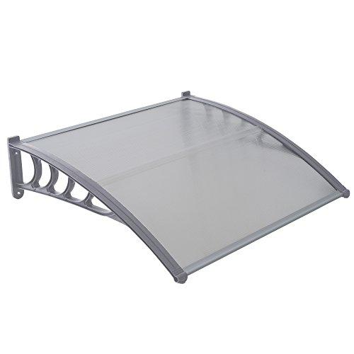 Jalano Vordach grau Überdachung Haustürdach Türdach Pultvordach Polycarbonat 5mm mit Profilen, Vordächer:100 x 120 cm, Farbe:grau