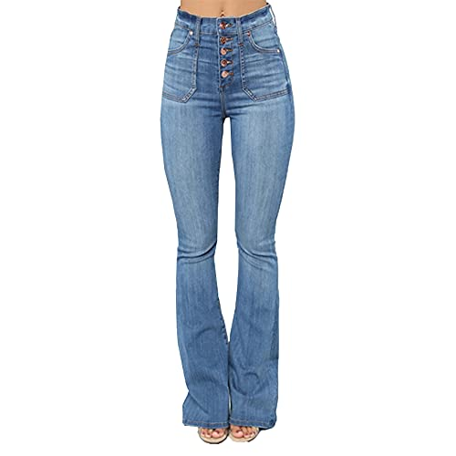 WXMSJN Jeans De Mujer Bolsillos De Parche Pantalones De Mezclilla Delgados Lavados Y Abotonados Mujer