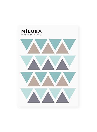 Pegatinas y Vinilos para Decoración de Pared | Triángulos | Adhesivos Decorativos Infantil | Formas Geométricas | 56uds | Rosa, Azul, Mostaza (Azul)