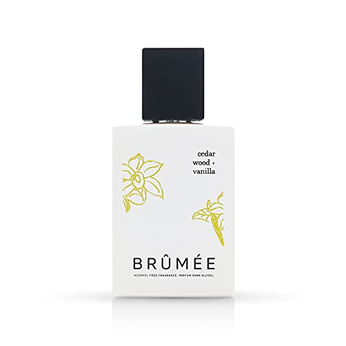 of cruelty free mens colognes BRUMEE Cedar Wood + Vanilla - Alcohol-Free Fine Fragrance Spray | Natural Perfume for Body and Hair | Water-based, Vegan, Cruelty Free, Gluten Free, 1.7 oz.