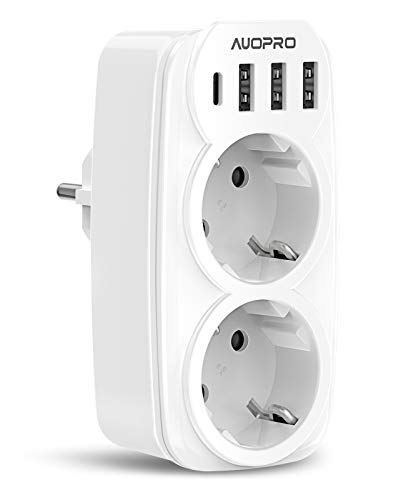 Multiprise Murale, 6 En 1 Prise USB Multiple avec 2 Prises Murale, Multiprise USB Secteur (4000W/16A), Chargeur Multiprise USB avec 3 Ports USB 5V/3.4A, 1 Port Type-C 15W/3A pour iPhone/Cuisine/Bureau