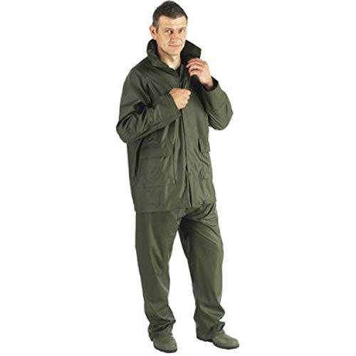 Euro Protection Impermeabile Completo Verde (Giacca e Pantalone) Poliuretano/PVC (XL)