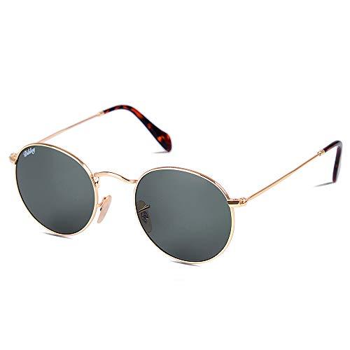 DIKLEY Occhiali da Sole da Uomo e Donna Rotondi metallo cornice Vetro lente Vintage Retro Specchiati Protezione UV400 (A-Oro Telaio G15 Lente)