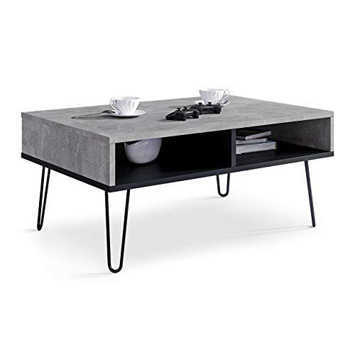 Viosimc Couchtisch für Wohnzimmer, Beton-Effekt und Schwarzem Industriesofa Beistelltisch, Mitteltisch mit stilvollen Metallbeinen, Stilvoller Moderner Mitteltisch (Beton - Schwarz)