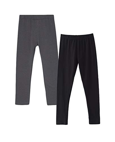 Amomí 2-Pack Leggins Mallas Pantalones Largos Ropa Deportiva Niña 14 Años, Pack de 2 (14 Años, Negro+Gris Oscuro)