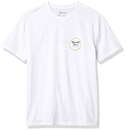 Brixton Men's T-Shirt, White/Sunset Yellow, L