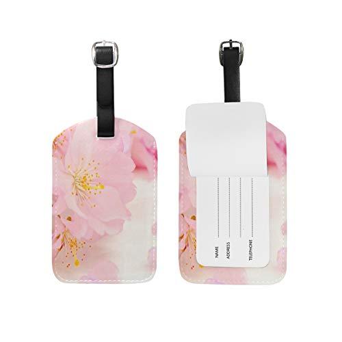 Eslifey Gepäckanhänger aus PU-Leder mit rosa Blumen, japanische Kirschblüte, Gepäckanhänger, Sichtschutz für Reisetasche.