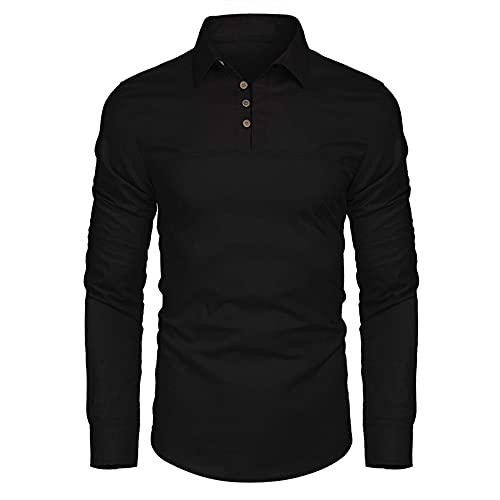 ZYUD Men's Lapel Long Sleeve t-Shirt Work Clothes Men's T-Shirt Long-Sleeve Lapel Baseball Shirt Outdoor Golf Fitness Sport Polo Shirt Regular Fit Casual Comfortable Spring and Autumn Clothing Black