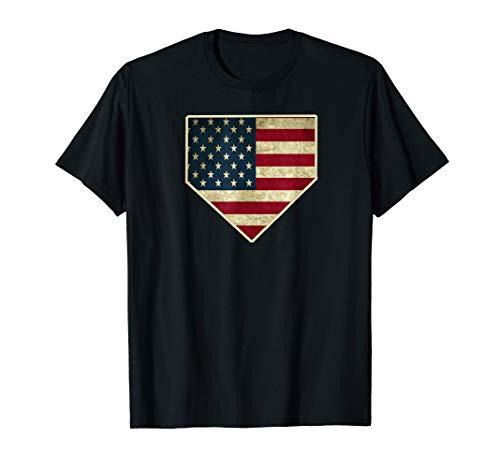 Vintage American Flag Baseball Home Plate Art Sports Gift T-Shirt