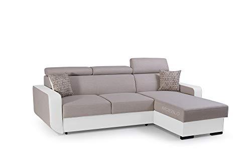 mb-moebel Ecksofa mit Schlaffunktion Eckcouch mit Bettkasten Sofa Couch Wohnlandschaft L-Form Polsterecke Pedro (Beige + Weiß, Ecksofa Rechts)