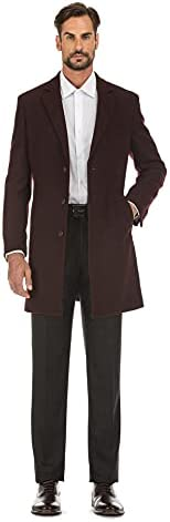 English Laundry Men's Wool Blend Breasted Solid Burgundy 3/4 Length Top Coat (42 Short)