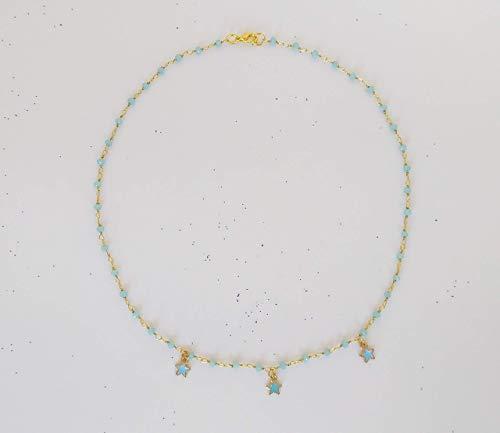 Collana stile rosario realizzata a mano colore oro con cristalli azzurri e stelline azzurre.
