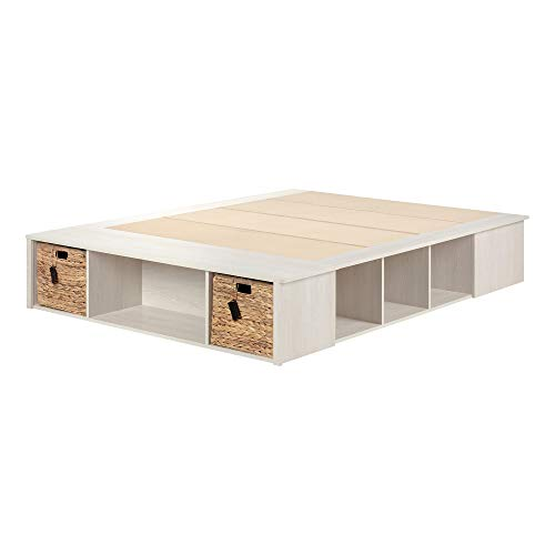 South Shore Avilla Queen Storage Bed with Baskets, Winter Oak/Rattan