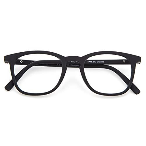 DIDINSKY Blaulichtfilter Brille für Damen und Herren. Blaufilter Brille mit stärke oder ohne sehstärke für Gaming oder Pc. Gummi-Touch-Tempel und Blendschutzgläser. Graphite +2.0 – TATE
