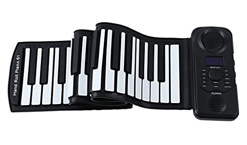 FEFCK 61-Key Piano Enrollable Soporte De Acorde Y Bluetooth Piano Portátil Piano Espesano Teclado Plegable para Principiantes para Adultos Infantil