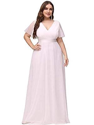 Ever-Pretty Women's V-Neck Short Sleeve Empire Waist Long Plus Size Bridesmaid Dress White US16