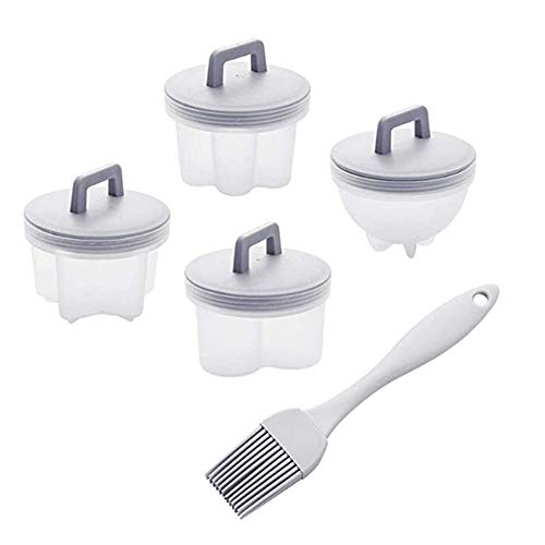 4pcs Reusable Non-stick Lovely Boiled Egg Mold, Poached Eggs Pan Cups W/lids&handle Oil Brush, Plastic Egg Cups For Soft Boiled Eggs (gray)