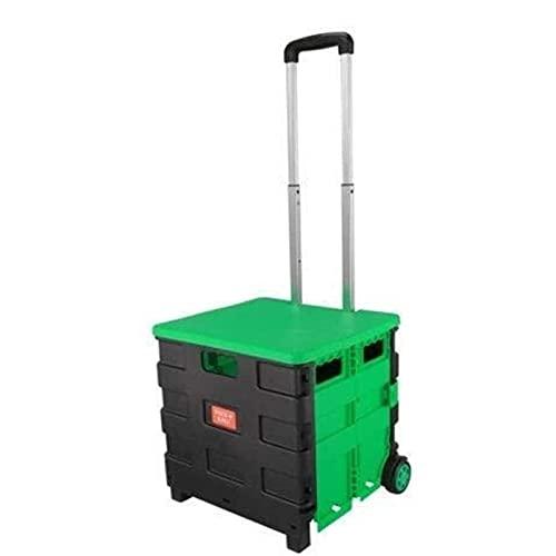 HHTD Carrito de Compras Plegable del hogar Trolley Portátil Embalaje Rollo Plegable Cesta de comestibles con Tapa Verde
