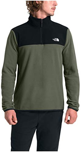 The North Face Men's TKA Glacier Quarter Zip Pullover, New Taupe Green/TNF Black, Large