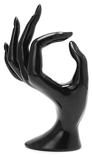 Seupeak Maniquin Ok Hand Finger Guante Anillo Pulsera Brazalete Joyería Pantalla Soporte Titular Titular Transparente (Color : Black)