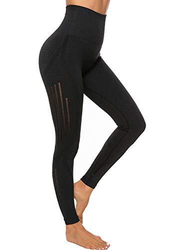 SEASUM Leggins Sportivi da Donna Senza Cuciture Vita Alta Pantaloni Hollow out Elastici per Allenamento Corsa Yoga Fitness Tute da Ginnastica Collant di Base Dimagrante, D-Nero M