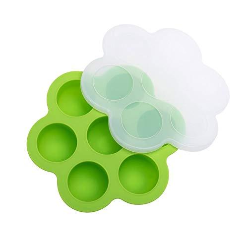 TOPofly Silikon-Ei-Bites Formen Für Instant-Pot, Babynahrung Vorratsbehälter Und Gefriertablett Mit Deckel Grün